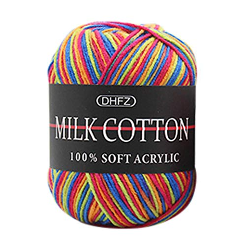 Tpingfe Cotton Wool Yarn, Colorful Hand Knitting, 50g Knitting Crochet Milk Soft Care for Baby (D1)