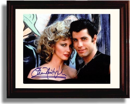 Johns Autographs (Framed Olivia Newton John and John Travolta Autograph Replica Print - Grease)
