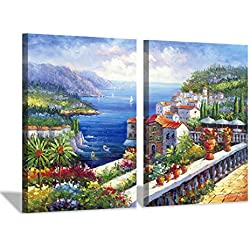 Italy Coastal Cityscape Painting Picture: Mediterranean Artwork Italian Theme Canvas Wall Art for Kitchen (24'' x 18'' x 2 Panels)