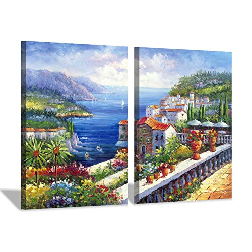[해외]Italy Coastal Cityscape Painting Picture: Mediterranean Artwork Italian Theme Canvas Wall Art for Kitchen (24`` x 18`` x 2 Panels) / Italy Coastal Cityscape Painting Picture: Mediterranean Artwork Italian Theme Canvas Wall Art for ...