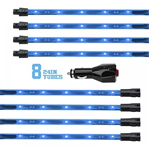 "Light Blue 8pcs 24in"" tubes Three Mode LED Undercar Neon Accent light Kit Waterproof Ultra Bright + Plug & Play All Accessories Included"