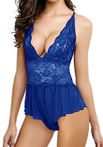 HZH Women Sexy Lingerie Lace Jumpsuit Babydoll Open Crotch Pant Dress