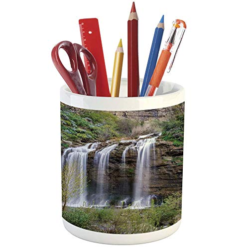 Pencil Pen Holder,Nature,Printed Ceramic Pencil Pen Holder for Desk Office Accessory,Photo of Waterfall Forest Jungle Corleone Sicily Rocks Trees Grass Landscape