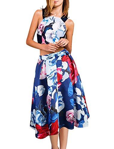 (BELONGSCI Women Summer 2 Pieces Outfits Dress Sexy Open Back Cross Strap Floral Print Crop Top + High Waist A-Line Midi Skirt)