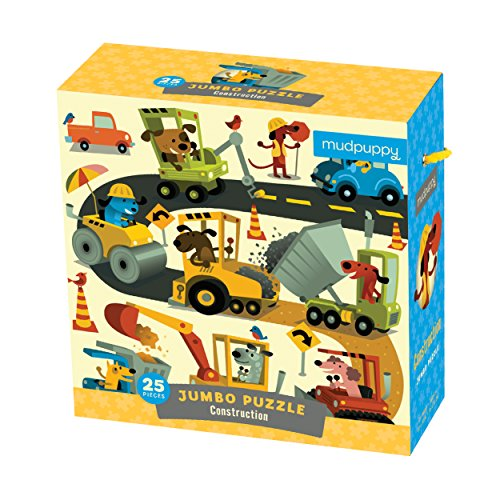 "ruction Site Puzzle for Ages 2 to 5 – 25 Piece Construction Equipment Puzzle, Measures 22"" Square ()"