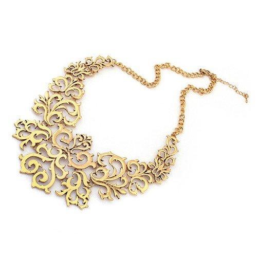 vendita calda online 329e4 701fb CARINGA - Collana dorata colletto effetto ricamo girocollo elegante color  oro