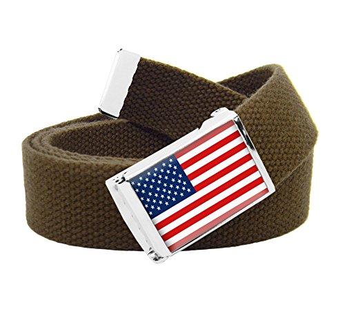 American Flag Flip Top Boys Belt Buckle with Canvas Web Belt Large Brown -