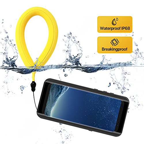 Galaxy S8 Plus Waterproof Case for Swimming with Floating Wrist Strap , Up to 33ft/10m Waterproof phone Crushproof Case for Samsung S8+ Plus (6.2inch) , Transparent cover