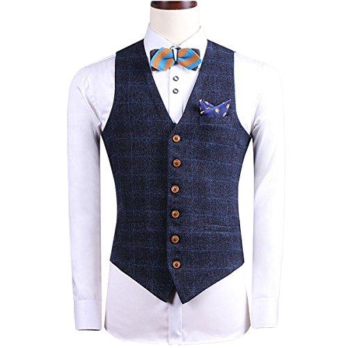 YFFUSHI Mens Design Plaid Suit Vest Slim Fit British Style Separate Vest by YFFUSHI