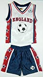 New In Boy's Kid's Sportswear Football England Fan Kit Shorts Set In Navy & White and Red & White Set Ages 7-8, 9-10, 11-12 & 13 (6 Years, White)
