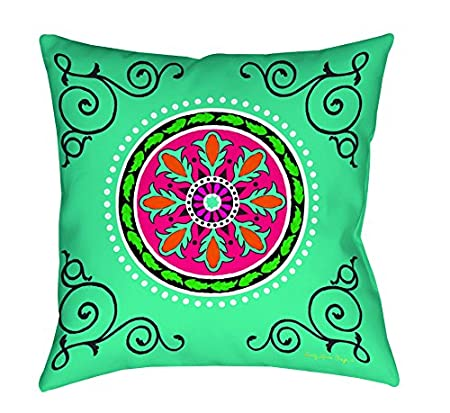 Turquoise 20-Inch Boho Medallion Manual Woodworkers /& Weavers Square Throw Pillow