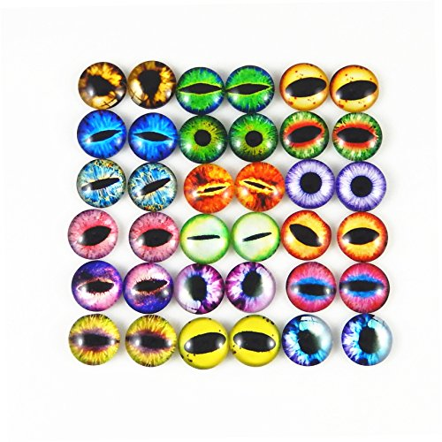 JulieWang 12mm 60pcs Mixed Dragon Eyes Round time gem cover Glass Cabochon Dome Cameo Pendant ()