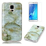 for Samsung Galaxy S5/S5 Neo Marble Case with Screen Protector,OYIME Creative Glossy Green Marble Pattern Design Protective Bumper Soft Silicone Slim Thin Rubber Luxury Shockproof Cover