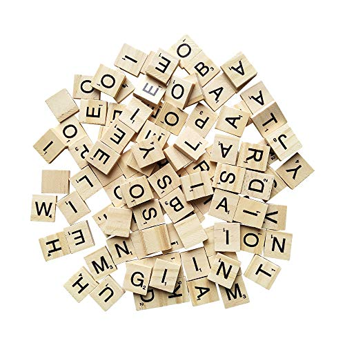 YH Poker 500 Wood Scrabble Tiles,Scrabble Letters for Crafts - DIY Wood Gift Decoration - Making Alphabet Coasters and Scrabble Crossword Game