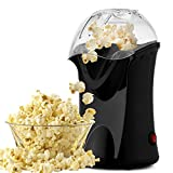 Kemanner Popcorn Maker Machine 1200W Hot Air Popcorn Popper with Measuring Cup and Removable Lid Ideal for Watching Movies and Holding Parties in Home - No Oil Needed/BPA-Free (Black)