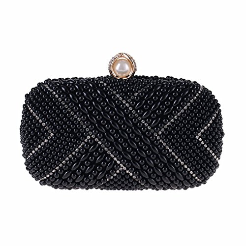 Black American Matching Cross Hand And bag BLACK Color Holding Fly European Dress Small Pearl Bag Bag border Square evening Evening Women's wCYCqBR