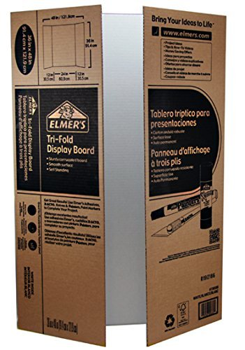 Elmer's Corrugated Tri-Fold Display Boards, 36 x 48 Inches, 1-Ply, White Inside/Kraft Outside, Case of 25 Boards (730300) by Elmer's