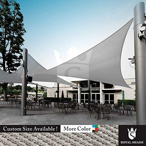 Royal Shade Custom Size Order to Make Sun Shade Sail Canopy Mesh Fabric UV Block Triangle – Commercial Standard Heavy Duty – 200 GSM – 5 Years Warranty Right Triangle 13 x 15 x 19.8 , Grey