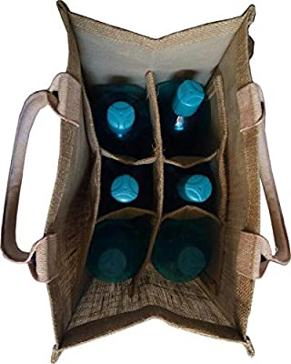 KVR natural Jute burlap wine beer carrier bag with collapsible Dividers (6 bottle capacity)