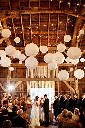 Neo LOONS White Round Chinese/Japanese Paper Lanterns Metal Framed Hanging Lanterns-- Assorted Sizes--Birthday/Wedding/Christmas/Ceiling Party Supplies Favors Hanging Decoration by NEO LOONS (Image #5)