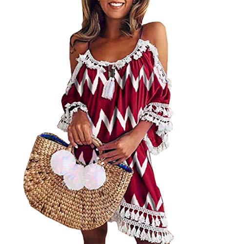 WOCACHI Womens Off Shoulder Dress Tassel Bohemia Printed Cocktail Party Beach Dresses 2019 Summer Deals New Boho Mini Over Knee Beachwear Daily for Church Casual Fashion Strap Halter