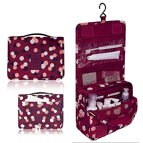 Portable Waterproof Travel Cosmetic Bag - Lady Color Portable Travel Makeup Kit Organizer Bathroom Storage Cosmetic Bag Carry Case Toiletry Bag with Hanging Hook (Wine Flowers)