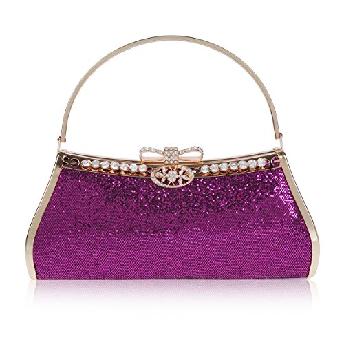 Damara Womens Sparkling Sequins Bow Snap Tote Evening Bag,Purple (Metallic Pouch Bag Evening)