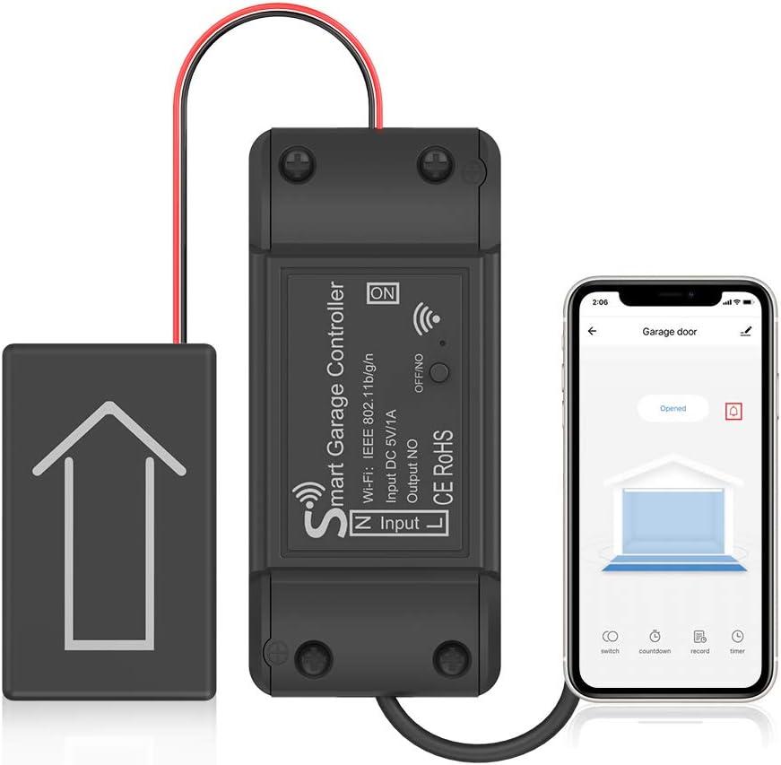 AGSHOME Smart Garage Door Opener,Wireless Wi-Fi Garage Opener,APP Control,Compatible with Alexa,Google Assistant,No Hub Needed Upgrade Version,Black