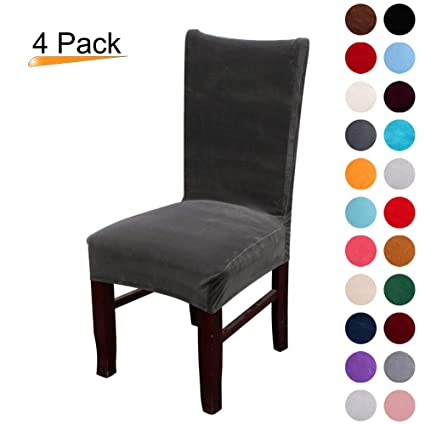 Attirant Velvet Stretch Dining Chair Slipcovers   Spandex Plush Short Chair Covers  Solid Large Dining Room Chair