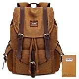 KAUKKO Large Canvas Leather Backpack Stylish Rucksack Casual Backpacks Satchel for Travel Hiking Khaki Review