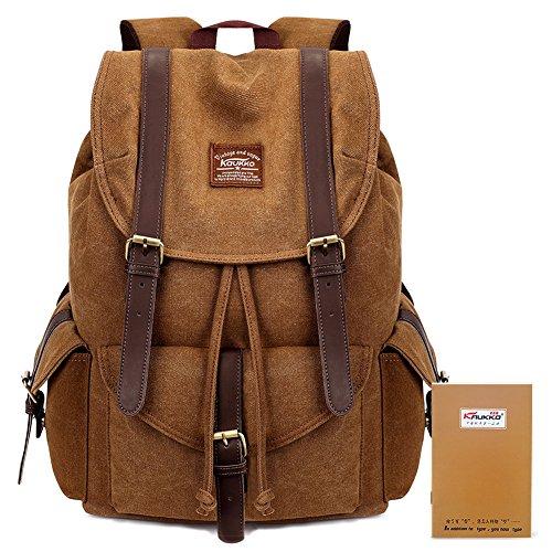 Vintage Canvas Backpack Kaukko Outdoor Travel Hiking Rucksack School Bookbags Khaki