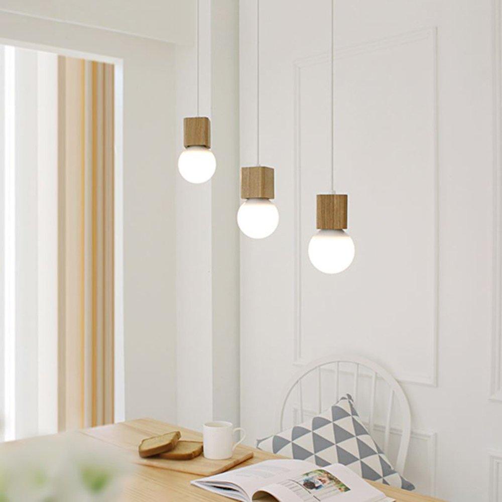 Modern E27 Kronleuchter Elegant Pendelleuchten Hängelampe Holz 220V Höhenverstellbar (3-flammig) Dekorative Beleuchtung für Café Küche Bar Esssaal (Bulb Not Included)