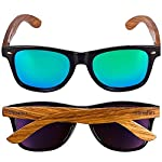 Woodies Zebra Wood Sunglasses with Mirror Polarized Lens for Men and Women (Green) 11 <p>Woodies Zebra Wood Sunglasses with mirror lens offer a combination of 100% real zebra wood arms that support a plastic frame. The lightweight zebra wood offers a comfortable fit that is durable and sturdy at the same time. Our unique stainless-steel, double-spring hinges are sturdy and designed to keep their shape year after year. The lenses are specially designed so that they are both dark and polarized, offering 100% UVA/UVB protection even in intense lighting conditions. These glasses are stylish, durable, and natural. Each pair includes a durable black carrying case, a microfiber lens cleaning cloth and a wood guitar pick! 30-Day Money back Guarantee With Woodies, I set out to create the world's best value for $25 sunglasses. Compare these to Shwood, Knockaround Toms, Neff, 4est, Quay, Oakley, and even RayBans! If you're not convinced these are the best quality for $25, we'll give you a full refund. Espanol: Lentes de Sol para Hombre y Mujeres, Gafas Handmade from REAL Zebra Wood (50% Lighter than Normal Sunglasses) Includes FREE Carrying Case, Lens Cloth, and Wood Guitar Pick Polarized Lenses Provide 100% UVA/UVB Protection 30-Day Money Back Guarantee</p>