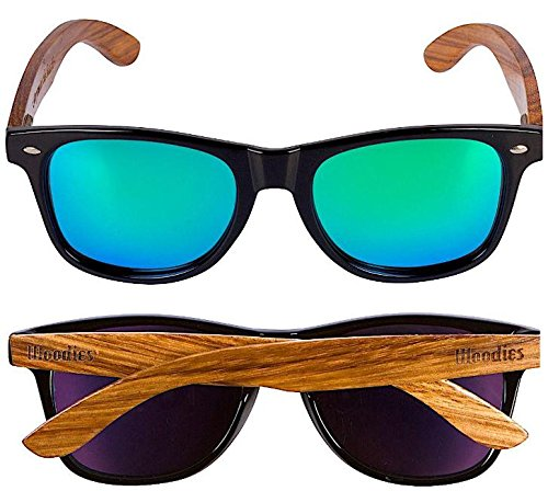 Woodies Zebra Wood Sunglasses with Mirror Polarized Lens for Men and Women (Green) 2 <p>Woodies Zebra Wood Sunglasses with mirror lens offer a combination of 100% real zebra wood arms that support a plastic frame. The lightweight zebra wood offers a comfortable fit that is durable and sturdy at the same time. Our unique stainless-steel, double-spring hinges are sturdy and designed to keep their shape year after year. The lenses are specially designed so that they are both dark and polarized, offering 100% UVA/UVB protection even in intense lighting conditions. These glasses are stylish, durable, and natural. Each pair includes a durable black carrying case, a microfiber lens cleaning cloth and a wood guitar pick! 30-Day Money back Guarantee With Woodies, I set out to create the world's best value for $25 sunglasses. Compare these to Shwood, Knockaround Toms, Neff, 4est, Quay, Oakley, and even RayBans! If you're not convinced these are the best quality for $25, we'll give you a full refund. Espanol: Lentes de Sol para Hombre y Mujeres, Gafas Handmade from REAL Zebra Wood (50% Lighter than Normal Sunglasses) Includes FREE Carrying Case, Lens Cloth, and Wood Guitar Pick Polarized Lenses Provide 100% UVA/UVB Protection 30-Day Money Back Guarantee</p>