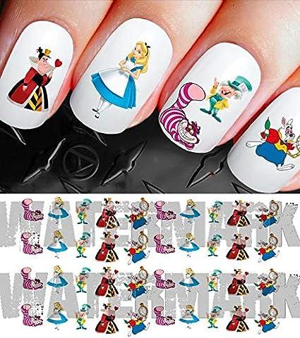 50 stickers pour ongles , Disney Alice au pays des