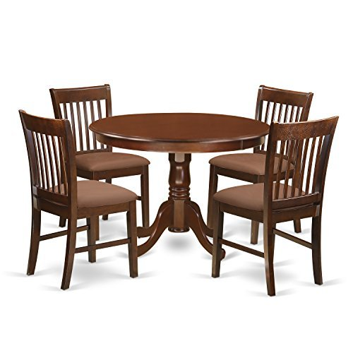 (East West Furniture HLNO5-MAH-C 5Piece Hartland Set with One Kitchen Table & 4 Cushion Seat Dinette Chairs in a Beautiful Mahogany Finish)
