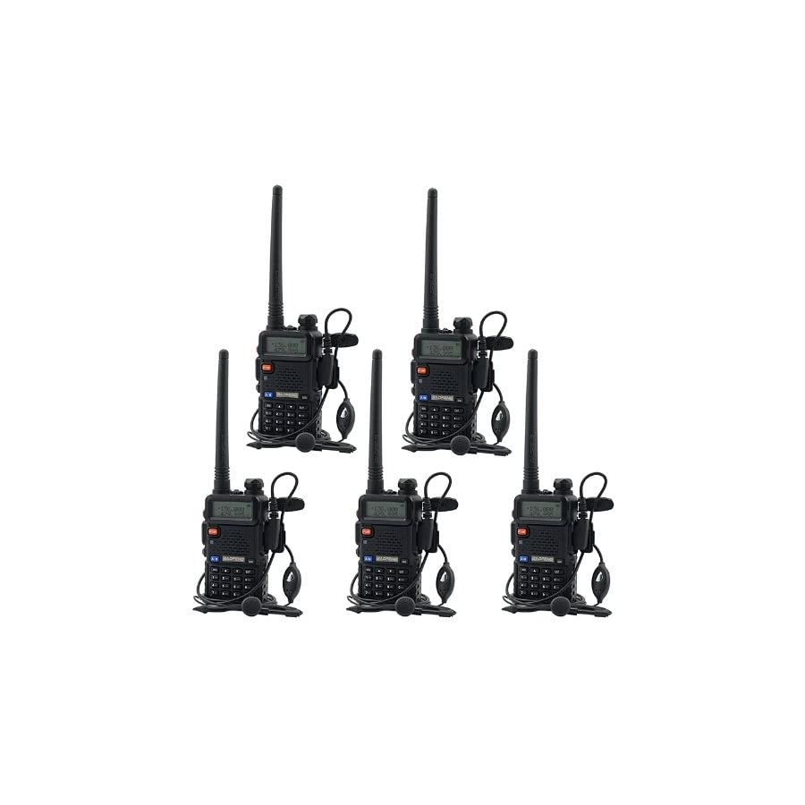 BaoFeng UV 5R UHF VHF Dual Band Two Way Radio Walkie Talkie with 5 Earpieces + 1 Programming Cable, 5 Pack