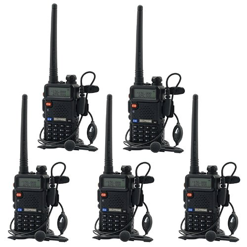 BaoFeng UV-5R UHF VHF Dual Band Two Way Radio Walkie Talkie with 5 Earpieces + 1 Programming Cable, 5 Pack (Ham Radio Motorola)