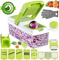 Vegetable Chopper, ONSON Onion Chopper Spiralizer Vegetable Slicer Dicer - Mandoline Slicer WITH LARGE CONTAINER Food...