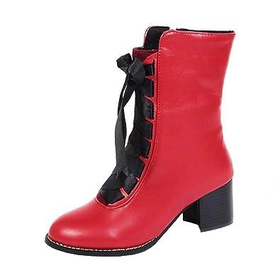 YE Damen Stiefeletten Blockabsatz Ankle Boots mit Schnürung