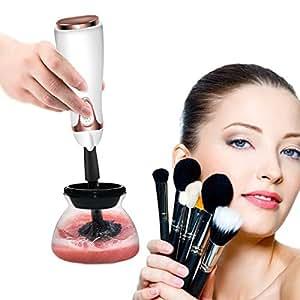iFanze Brochas de Maquillaje Profesional Limpiador, 360° Eléctrico Giratorio, Que Limpia y Seca Pinceles Maquillaje Pocos Segundos, 8 Collar Goma para Todo Tamaño Makeup Brushes, Fácil, Ahorra Tiempo
