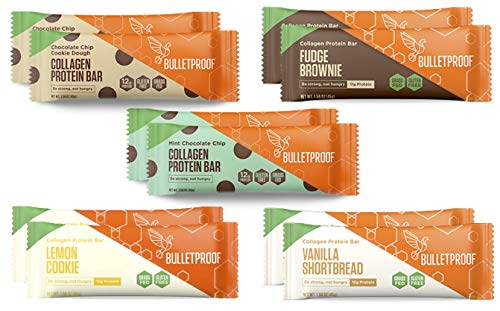 Bulletproof Collagen Bars Flavor Bundle | 10 Bars, 5 Flavors | Bulletproof Collagen Protein Bars Chocolate Fudge Brownie, Chocolate Chip Cookie Dough, Vanilla Shortbread, Lemon, Mint Chocolate Chip
