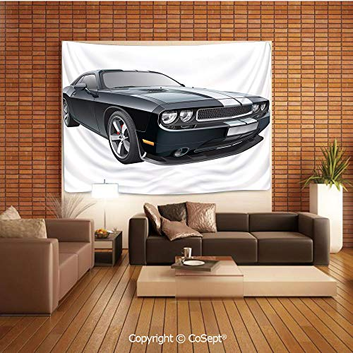 PUTIEN Tapestry Wall Hanging Wall Decor,Black Modern Pony Car with White Racing Stripes Coupe Motorized Sport Dragster,Tapestry Art Print Tapestry for RoomBlack Grey White