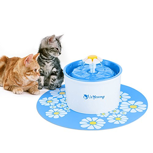 isYoung Cat Fountain 1.6L Automatic Pet Water Fountain Pet Water Dispenser, Dog/Cat Health Caring Fountain and Hygienic Dog Fountain (Blue) by isYoung