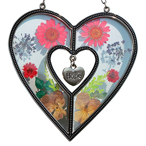 Tiffany Lamp & Gift Factory Hope Heart Suncatcher Silver Metal and Glass with Pressed Flower Heart and One Hanging Heart Shaped Charms (4.254.75-Hope) by Tiffany Lamp & Gift Factory