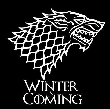 House Stark Wolf Winter Is Coming Game Thrones Vinyl Sticker Decals Car Bumper Window Macbook Laptop 6 X 6 White