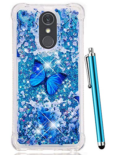 (LG Stylo 4 Case Glitter, LG Q Stylus Case, CAIYUNL Liquid Sparkle Bling Shiny Clear TPU Quicksand Design Protective Phone Case Cute Women Men Cover Shockproof for LG Stylo 4 -Blue Butterfly Pattern)