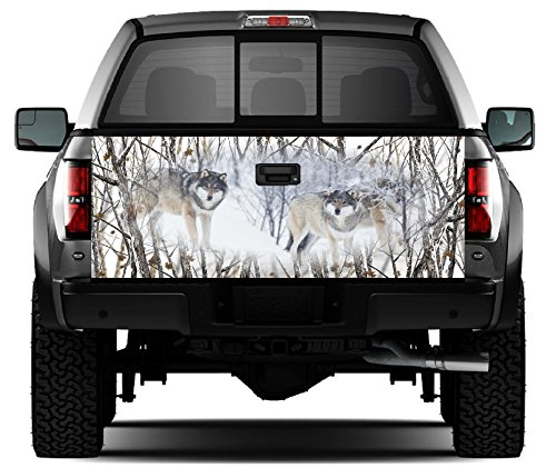 (Snow Wolves - Snowstorm Camo Tailgate Wrap Vinyl Graphic Decal Sticker Wrap)