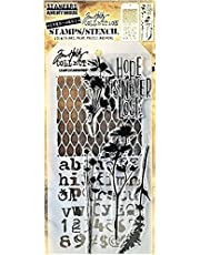 Stamper's Anonymous Tim Holtz Mesh Alphabet Flowers Hope is Never Lost Mixed Media Stamp and Stencil Set THMM121