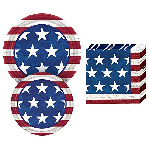Party City Americana Buffet Supplies for 50 Guests, Include 2 Sizes of Rustic-Look Paper Plates, Plus Paper Napkins